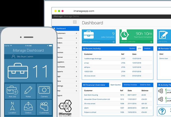 iManage phone and web dashboard image